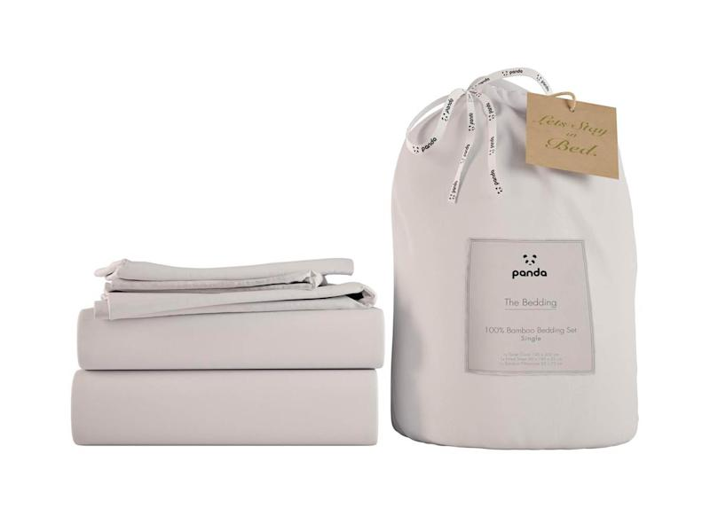 Catch 40 winks on this neutral bedding set, made from bambooPanda bamboo sheets