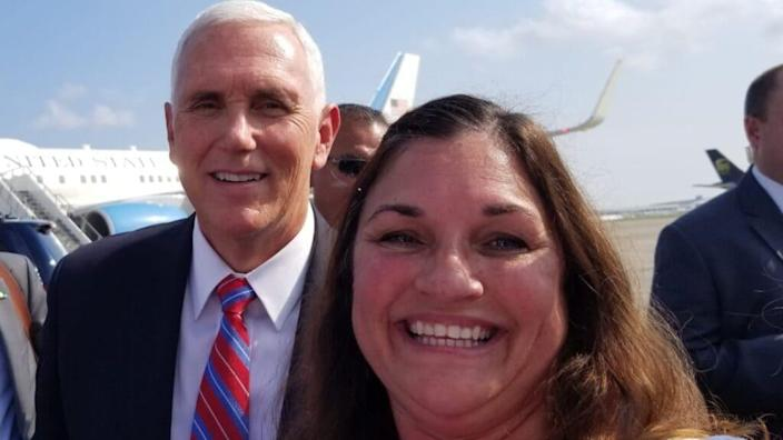 Former Vice President Mike Pence poses with Martha Huckabay (right), president of the Women's Republican Club of New Orleans, last year. (Twitter)