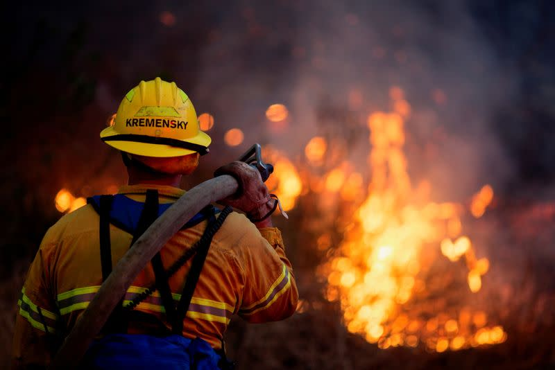 Firefighters tackle the Blue Ridge Fire in Yorba Linda