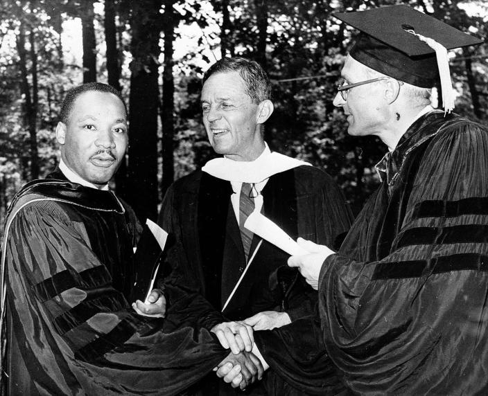 <p>U.S. Sen. Joseph Clark (D-Pa.), center, laughs along with Dr. Martin Luther King, left, leader against segregation, at Lincoln University commencement exercises, June 7, 1961, Oxford, Pa. At right is acting President Donald Yelton. (AP Photo/Sam Myers) </p>