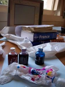 Printer ink next to France travel guide