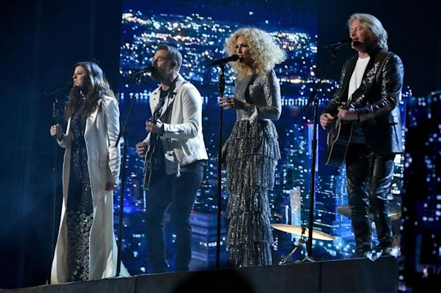 <p>Karen Fairchild, Jimi Westbrook, Kimberly Schlapman, and Philip Sweet of Little Big Town perform onstage during the 60th Annual Grammy Awards on January 28, 2018, in New York City. (Photo: Getty Images) </p>