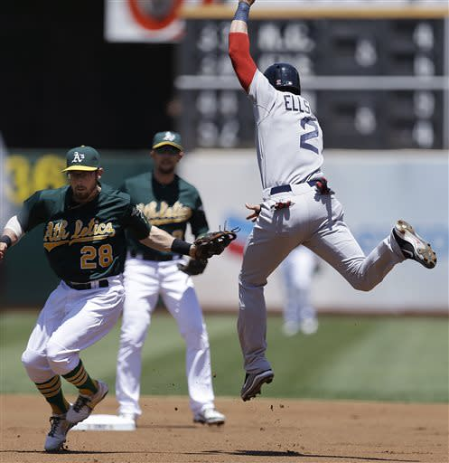 Boston Red Sox's Jacoby Ellsbury, right, is tagged out by Oakland Athletics second baseman Eric Sogard in the first inning of a baseball game Sunday, July 14, 2013, in Oakland, Calif. Boston's Daniel Nava was out at first on the double play. (AP Photo/Ben Margot)
