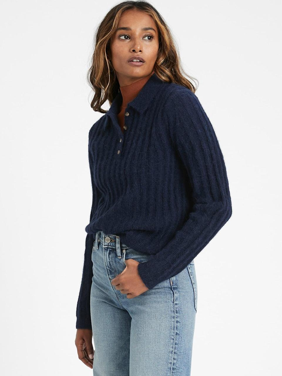 <p>They'll want to cozy up in this <span>Banana Republic Heritage Sweater Polo</span> ($77, originally $110).</p>