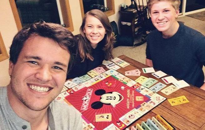 Robert Irwin is back at home and recovering well after being rushed to hospital for emergency surgery - pictured here with sister Bindi and her boyfriend Chandler Powell. Source: Instagram/@bindisueirwin