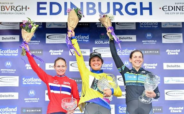 Leah Thomas (centre) celebrates a successful weekend's work in Scotland - SWpix.com