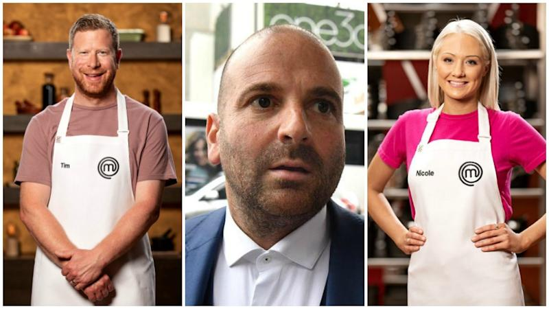 Masterchef finalists Tim Bone and Nicole Scott have come to the defence of George Calombaris in wake of his wages scandal. Photo: AAP/Channel 10