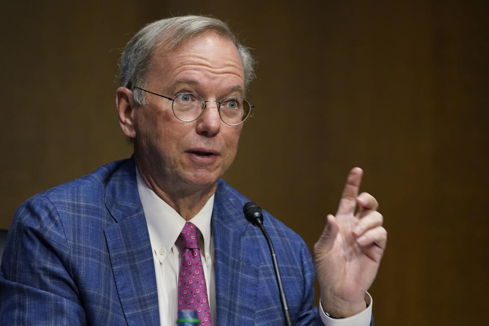 Dr. Eric E. Schmidt, co-founder of Schmidt Futures, speaks on Capitol Hill in Washington, Tuesday, Feb. 23, 2021, during a hearing on emerging technologies and their impact on national security. (AP Photo/Susan Walsh)