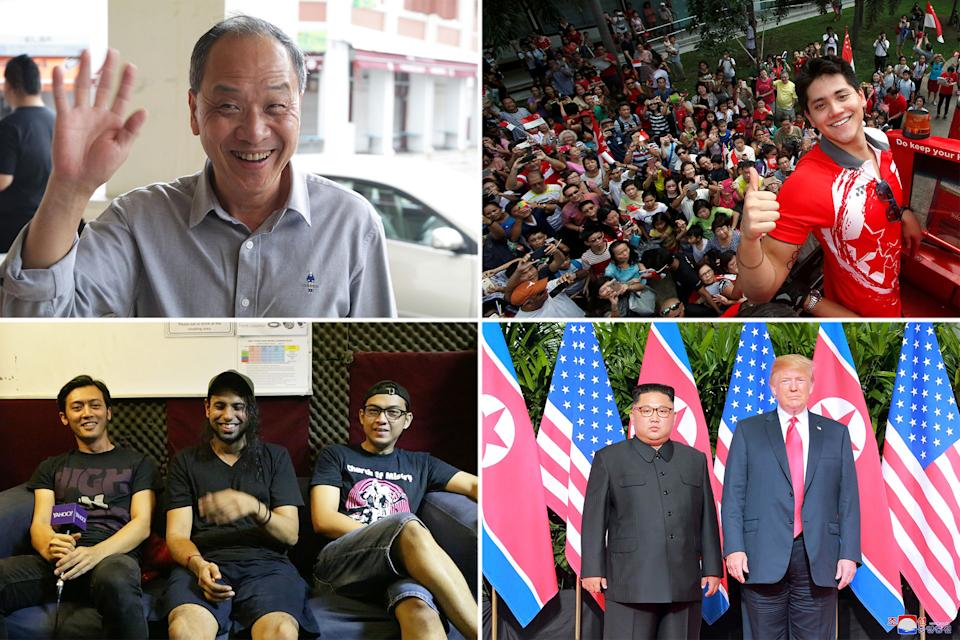 Clockwise from top left: Former Workers' Party chief Low Thia Khiang, Olympic gold medalist Joseph Schooling, North Korean leader Kim Jong Un and US President Donald Trump, and local grindcore band Wormrot. (PHOTOS: Reuters, Yahoo News Singapore)