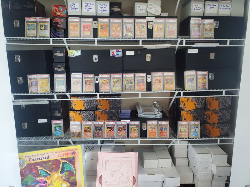 Zack Browning's Pokemon cards collection is pictured in Chicago