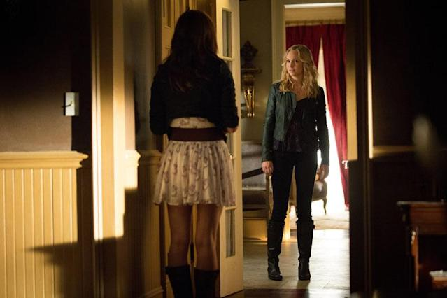 "Phoebe Tonkin as Hayley and Candice Accola as Caroline in ""The Killer,"" the fifth episode of ""The Vampire Diaries"" Season 4."