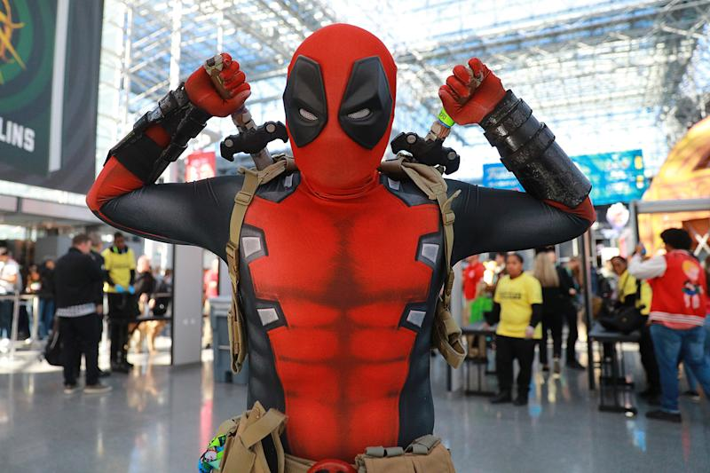 A cosplayer dressed as character from Deadpool attends the New York Comic Con 2019 at the Jacob Javits Center on Oct. 5, 2019 in New York City. (Photo: Gordon Donovan/Yahoo News)