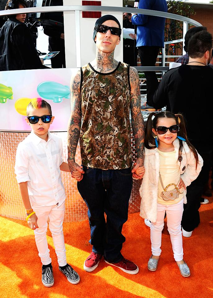 Travis Barker and kids arrive at the 2012 Nickelodeon Kids' Choice Awards in Los Angeles, California.
