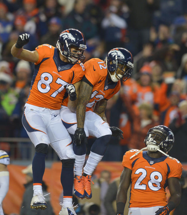 Denver Broncos wide receiver Andre Caldwell (12) celebrates with wide receiver Eric Decker (87) after catching a touchdown pass against the San Diego Chargers in the first quarter of an NFL football game, Thursday, Dec. 12, 2013, in Denver. (AP Photo/Jack Dempsey)