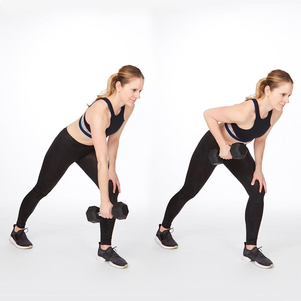 """<p>Aim to keep shoulder blades down and together and <a href=""""https://www.shape.com/fitness/tips/why-its-so-important-have-core-strength"""" target=""""_blank"""">core engaged</a> through this entire exercise for back fat.</p> <ul><li>Holding a medium-weight dumbbell in one hand, stand with feet hip-width apart, bend knees, and shift hips back, lowering torso until nearly parallel with the ground. Place right hand on a wall in front of you for balance.</li> <li>Draw the weight up toward chest by bending left elbow straight up toward the ceiling. </li> </ul><p><strong>Do 10 reps per side.</strong></p>"""