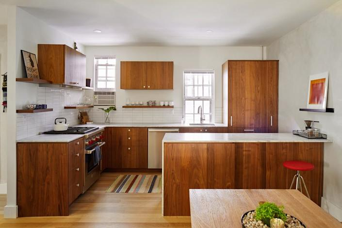 """<div class=""""caption""""> After: """"I really love the kitchen,"""" says Sarah. """"It fits the space. We really optimized the space in the kitchen without it feeling cramped."""" </div>"""