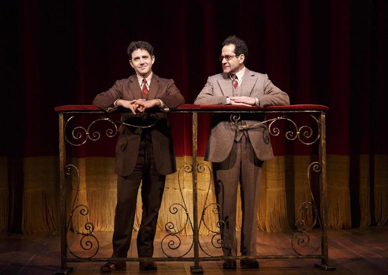 """This image released by Lincoln Center Theater shows Santino Fontana, left, and Tony Shalhoub in a scene from """"Act One,"""" at the Vivian Beaumont Theater in New York. (AP Photo/Lincoln Center Theater, Joan Marcus)"""