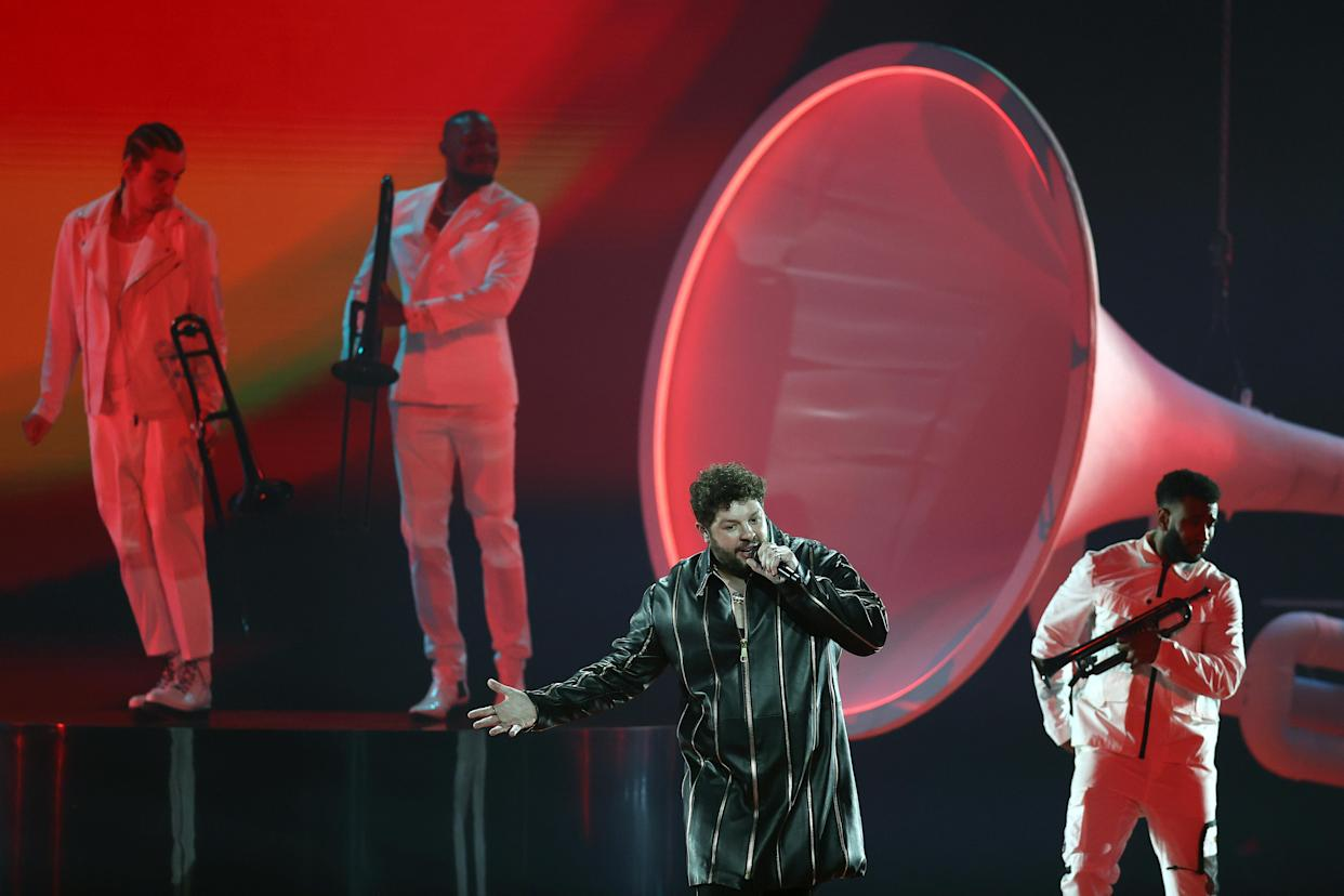 ROTTERDAM, NETHERLANDS - MAY 21: James Newman of United Kingdom during the 65th Eurovision Song Contest dress rehearsal held at Rotterdam Ahoy on May 21, 2021 in Rotterdam, Netherlands. (Photo by Dean Mouhtaropoulos/Getty Images)