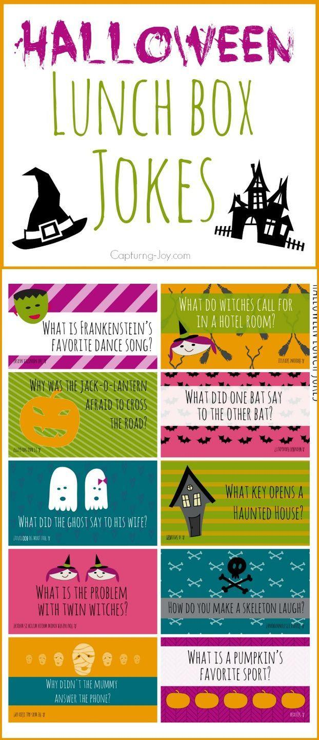 """<p>What key opens a haunted house? What did the ghost say to his wife? They'll find out these punchlines and more when they open their lunchbox to find a Halloween joke tucked right in next to the nosh. These free printables make it easy to toss in a new one each day. Smiles guaranteed! </p><p><em><a href=""""https://www.kristendukephotography.com/halloween-jokes/"""" rel=""""nofollow noopener"""" target=""""_blank"""" data-ylk=""""slk:Get the printable at Kristen Duke Photography »"""" class=""""link rapid-noclick-resp"""">Get the printable at Kristen Duke Photography »</a></em></p>"""