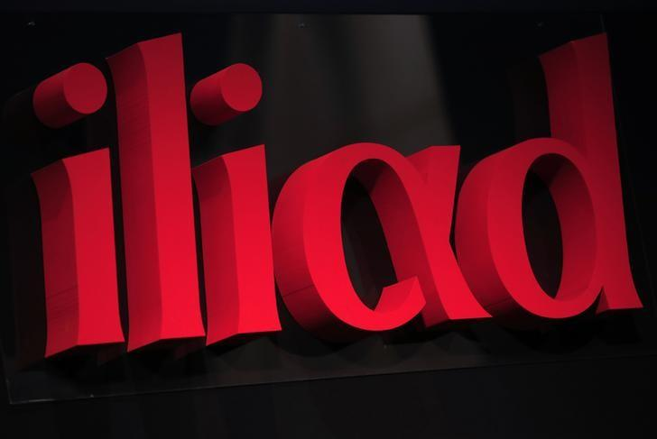 The logo of French low-cost telecoms provider Iliad is pictured during the company 2013 annual results presentation in Paris