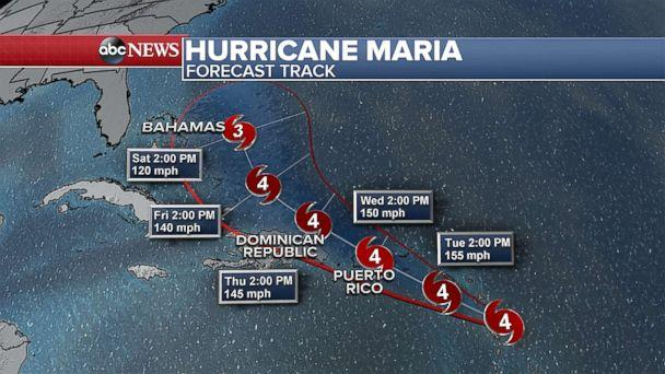 PHOTO: The forecast track for Hurricane Maria Sept. 18, 2017. (ABC News)