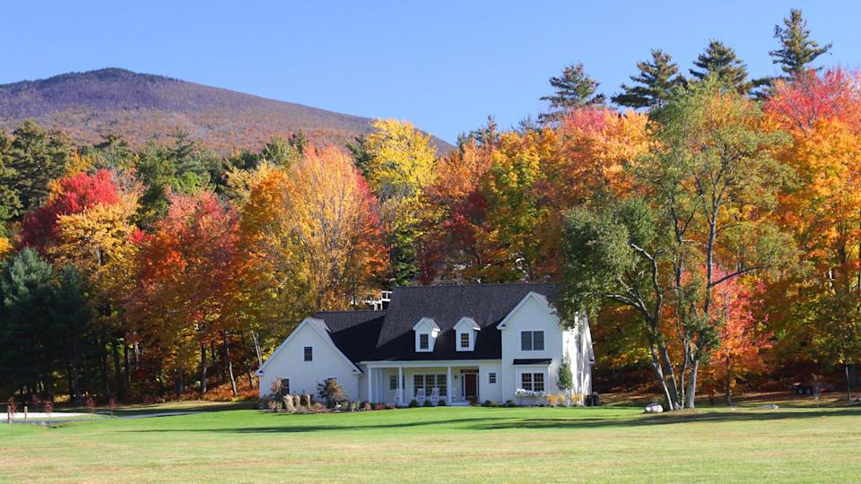 House in small town America during the fall foliage season.