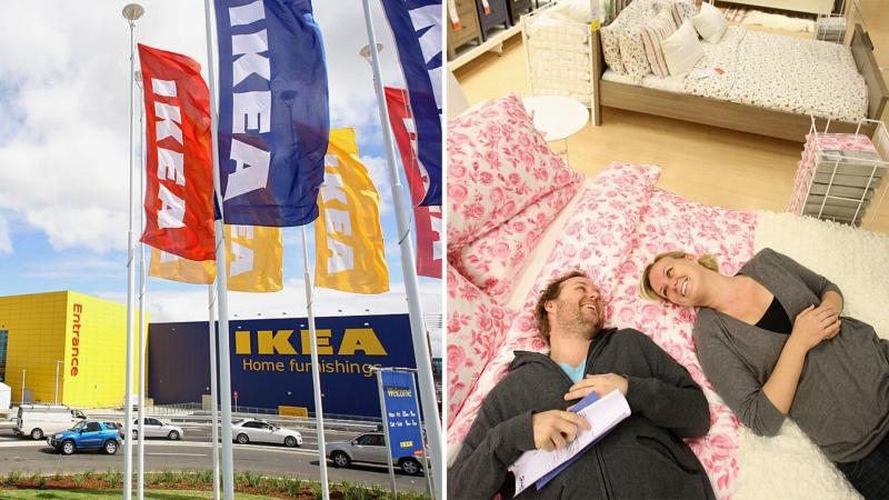 Ikea Tempe store in Sydney on the left and a couple laying on a display bed in Ikea on the right.