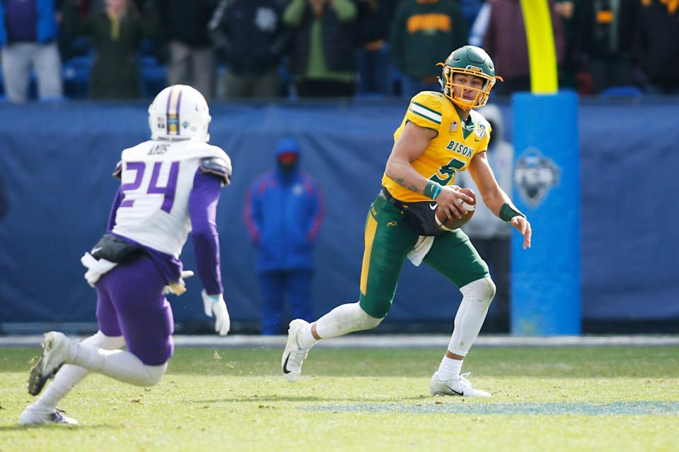 Former North Dakota State QB Trey Lance (5) never lost a game in college.