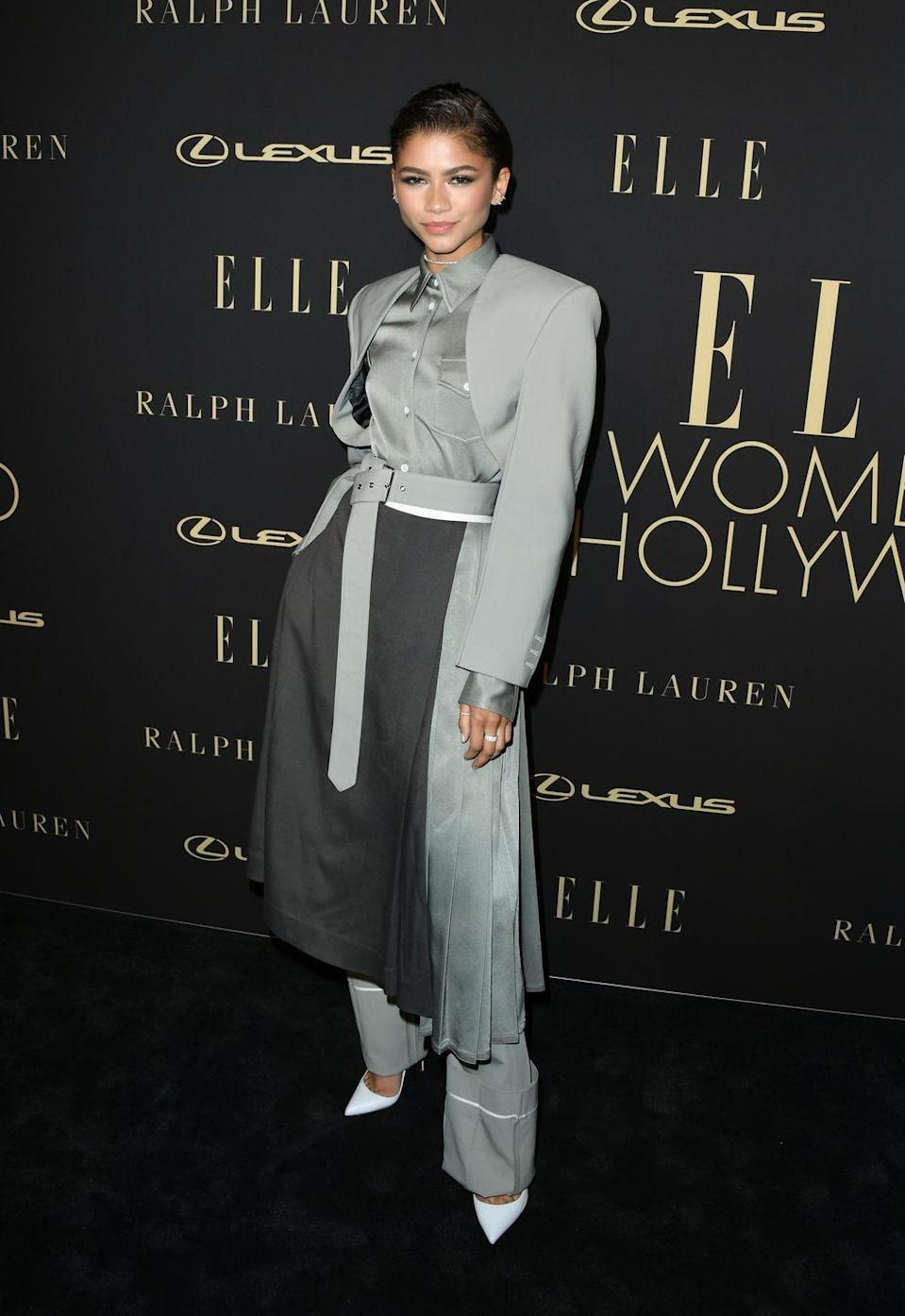 <p>Why debate wearing pants or a skirt when Zendaya proved you can look good wearing both at once? She layered up in this suit from Peter Do at <em>Elle</em>'s 2019 Women in Hollywood event. </p>