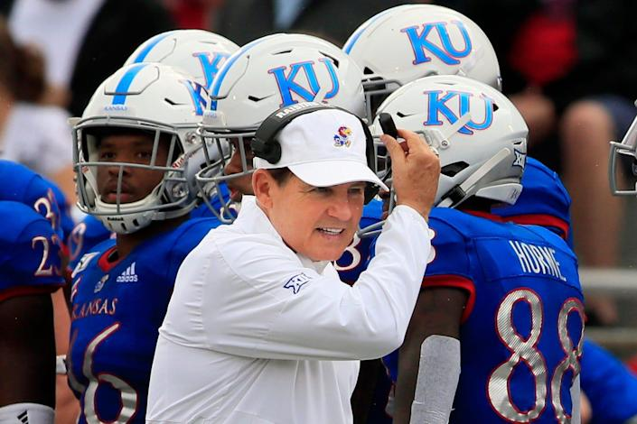 """Kansas will do a """"full review"""" of the allegations against Les Miles, athletic director Jeff Long said in a statement."""