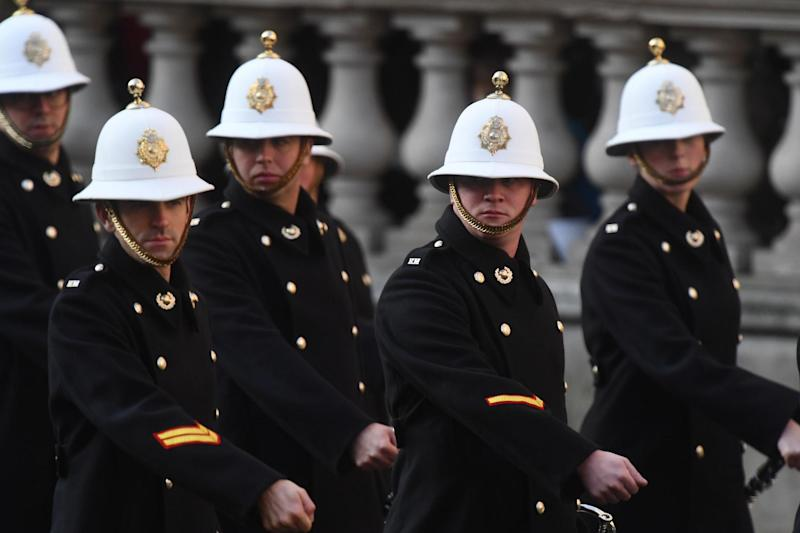 Up to 10,000 veterans and acting military personnel marched past the Cenotaph (PA)