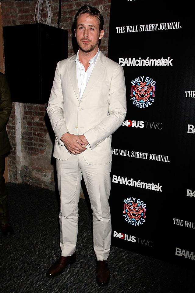 """NEW YORK, NY - JULY 16:  Ryan Gosling attends """"Only God Forgives"""" New York Premiere at BAM Harvey Theater on July 16, 2013 in New York City.  (Photo by Laura Cavanaugh/Getty Images)"""