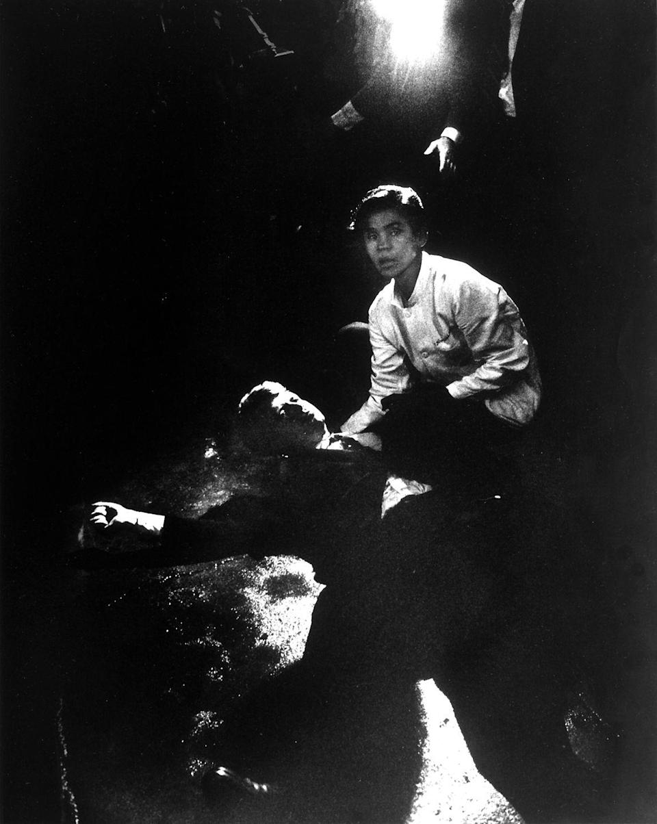 <p>1968. Sen. Robert Kennedy lies on the ground next to busboy Juan Romero after being shot in the head by Sirhan Sirhan.</p>