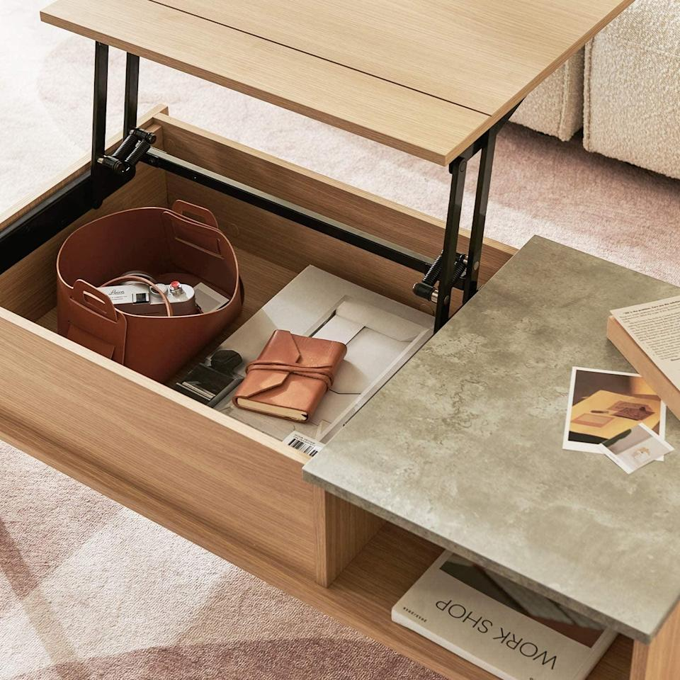 <p>We love the light wood on this <span>Harmati Lift Top Coffee Table</span> ($150).</p>