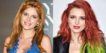 <p>After her breakup from Tyler Posey, the actress ditched her orange hair for a dark red, green dip-dyed look. This style didn't last long, which I'm gonna say is for the best. </p>