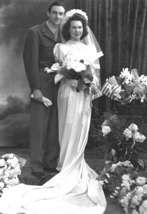 John and Alice Lawson's wedding picture from May of 1945. Alice Lawson, 97 lives in Lincoln Park, Michigan. She is originally from Belgium and met her husband John during World War II in Belgium where both were in the medical field. During the war, Lawson and her family helped hide Jewish people from the Nazi's saving dozens from going to concentration camps.