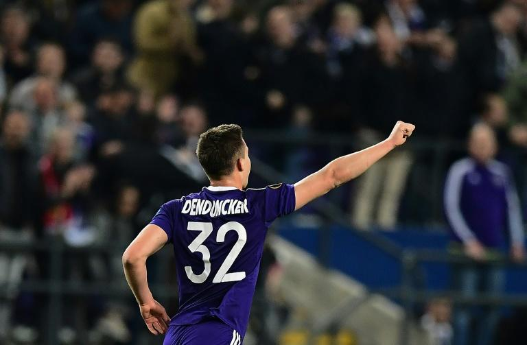 RSC Anderlecht's Leander Dendoncker celebrates after scoring during their Europa League first leg quarter-final match against Manchester United at the Constant Vanden Stock stadium in Brussels on April 13, 2017
