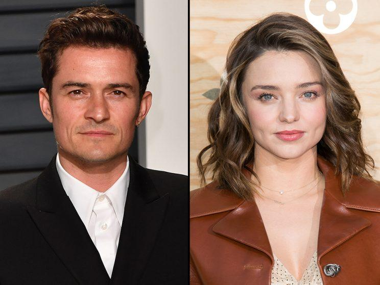 Friendly exes! Orlando Bloom helped his son, Flynn, make a cool and crafty birthday present for Miranda Kerr. (Photos: Getty Images)