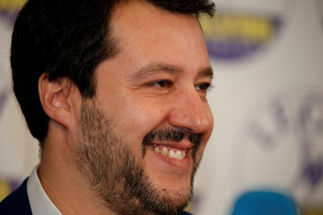 FILE PHOTO: Northern League party leader Matteo Salvini smiles as he arrives to attend a news conference, the day after Italy's parliamentary elections, in Milan, Italy March 5, 2018. REUTERS/Stefano Rellandini/File Photo