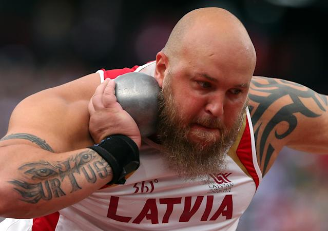 LONDON, ENGLAND - AUGUST 03: Maris Urtans of Latvia competes in the Men's Shot Put qualification on Day 7 of the London 2012 Olympic Games at Olympic Stadium on August 3, 2012 in London, England. (Photo by Alexander Hassenstein/Getty Images