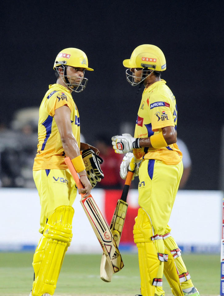 Suresh Raina of Chennai Super Kings and Subramaniam Badrinath of Chennai Super Kings during match 42 of the Pepsi Indian Premier League ( IPL) 2013  between The Pune Warriors India and the Chennai Superkings held at the Subrata Roy Sahara Stadium, Pune on the 30th April  2013. (BCCI)