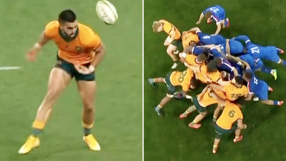 Two brutal Wallabies blunders, pictured here in the second Test against France.