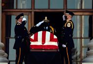 <p>The casket of Ruth Bader Ginsburg is brought to the front of the Supreme Court for two days of public viewing in Washington, DC on September 23, 2020.</p>