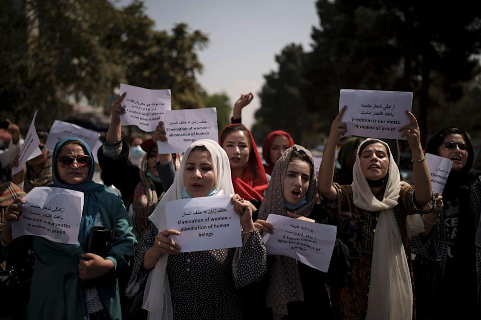 Women in Kabul protesting the Taliban decision to ban them from public life. Source: AP