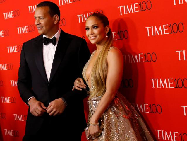 Alex Rodriguez and Singer Jennifer Lopez arrives for the TIME 100 Gala in Manhattan, New York, U.S., April 24, 2018. REUTERS/Shannon Stapleton
