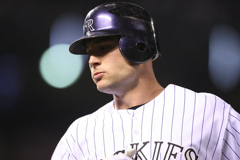 DENVER - OCTOBER 28:  Candid portrait of Matt Holliday of the Colorado Rockies during Game Four of the World Series against the Boston Red Sox at Coors Field in Denver, Colorado on October 28, 2007.  The Red Sox defeated the Rockies 4-3.  (Photo by Brad Mangin/MLB via Getty Images)