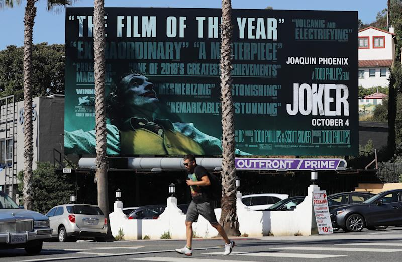 "A billboard advertises the new film ""Joker"" on October 3, 2019 in West Hollywood, California. (Photo by Mario Tama/Getty Images)"