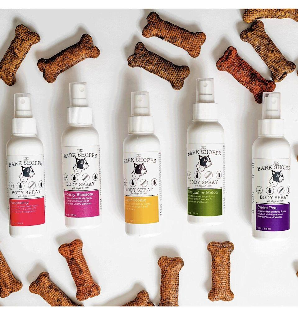 """<p>thebarkshoppe.com</p><p><strong>$9.99</strong></p><p><a href=""""https://www.thebarkshoppe.com/shop/signature-body-spray"""" rel=""""nofollow noopener"""" target=""""_blank"""" data-ylk=""""slk:Shop Now"""" class=""""link rapid-noclick-resp"""">Shop Now</a></p><p>If your sister's dog is starting to, um, *smell*, try gifting them this body spray made specially for pups. They'll laugh about the gesture and appreciate your honesty. </p>"""