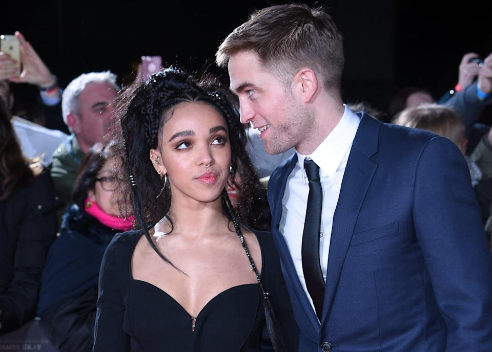 LONDON, ENGLAND - FEBRUARY 16:  Robert Pattinson and FKA Twigs arrive at The Lost City of Z UK premiere on February 16, 2017 in London, United Kingdom.  (Photo by Anthony Harvey/Getty Images)