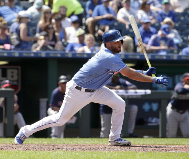 Kansas City Royals' Drew Butera watches three-run inside-the-park home run during the seventh inning of a baseball game against the Minnesota Twins, Sunday, July 22, 2018, in Kansas City, Mo. (AP Phot0/Charlie Riedel)